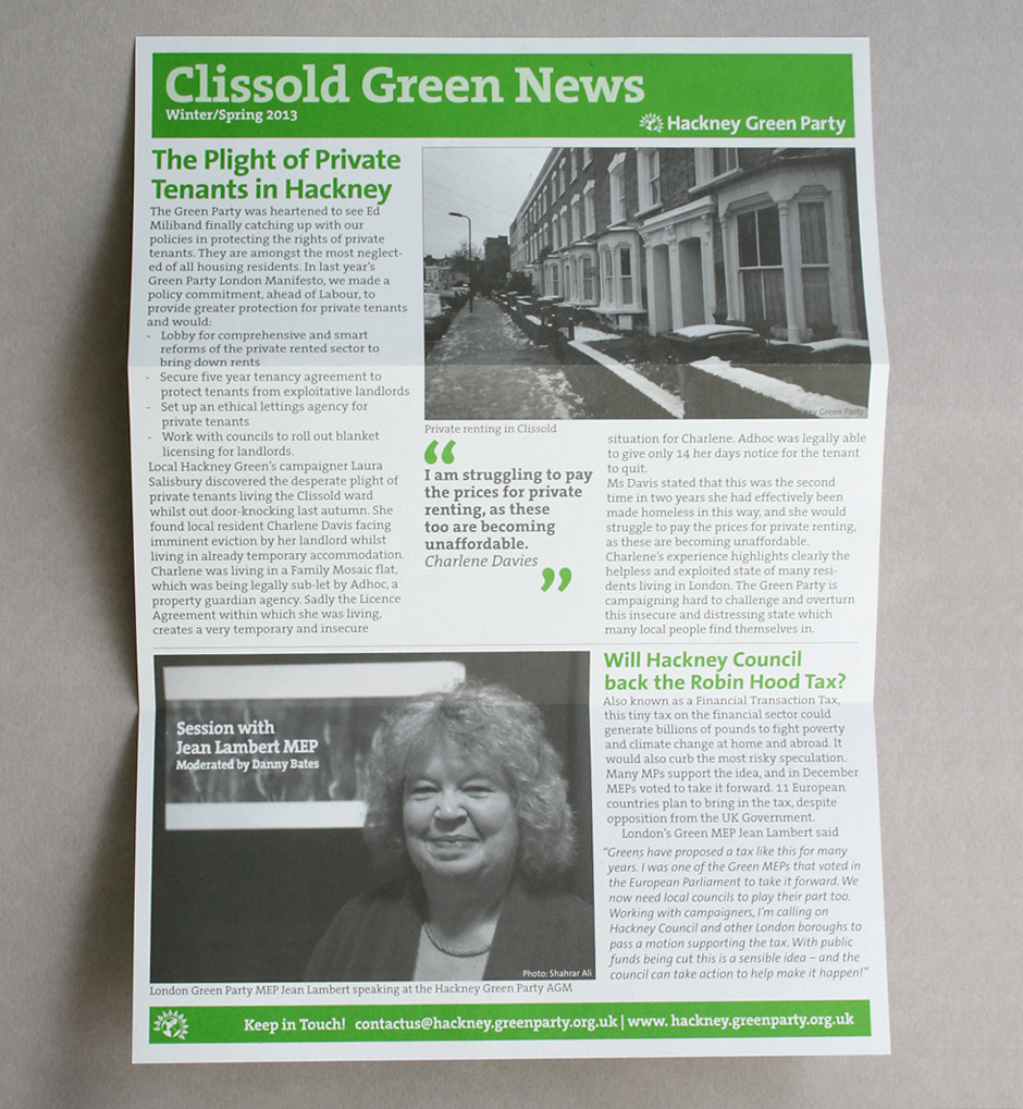 Concertina folded Green Party local newsletter