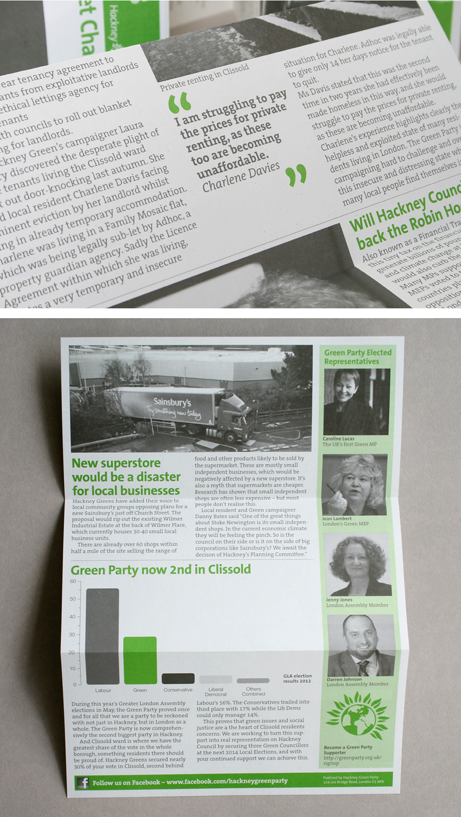 A4 concertina folded Hackney Green Party local newsletter