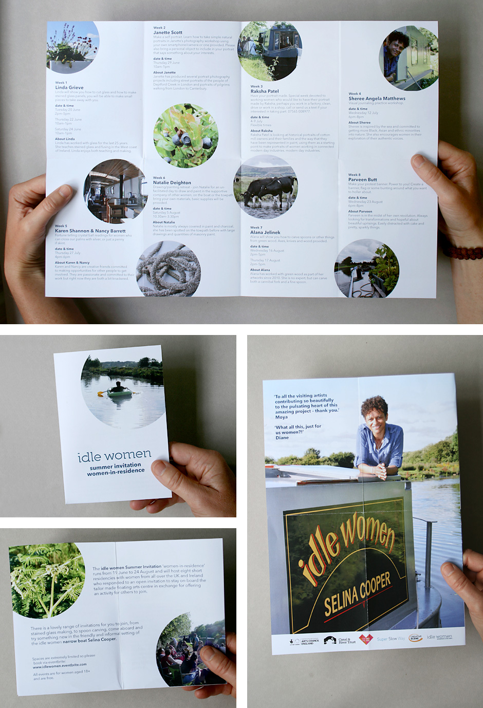 Image showing four configurations of the folded A3 summer programme leaflet for idle women