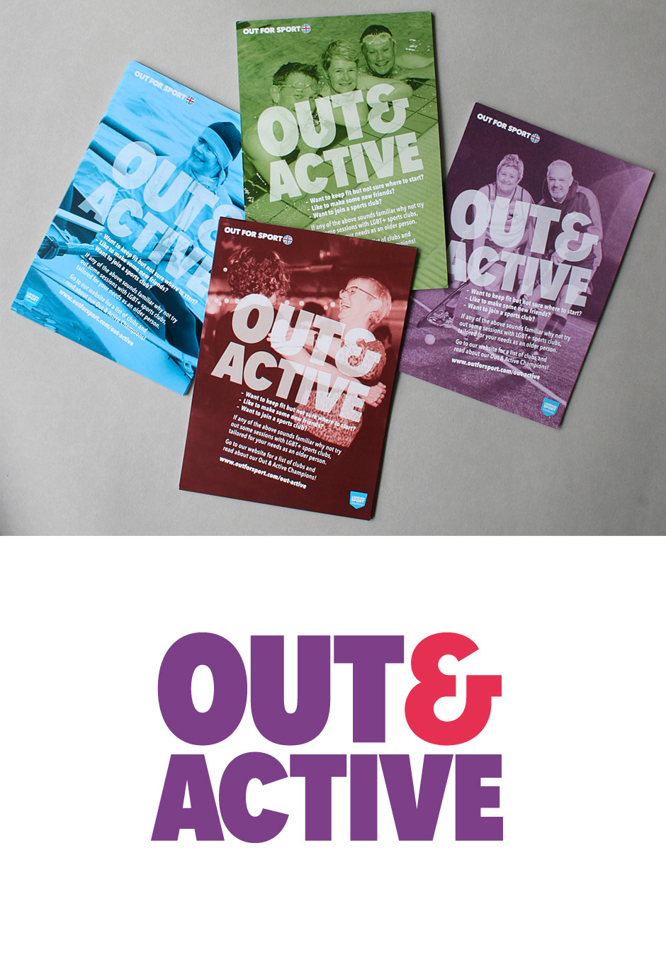 A5 promotion flyers and Out & Active logo