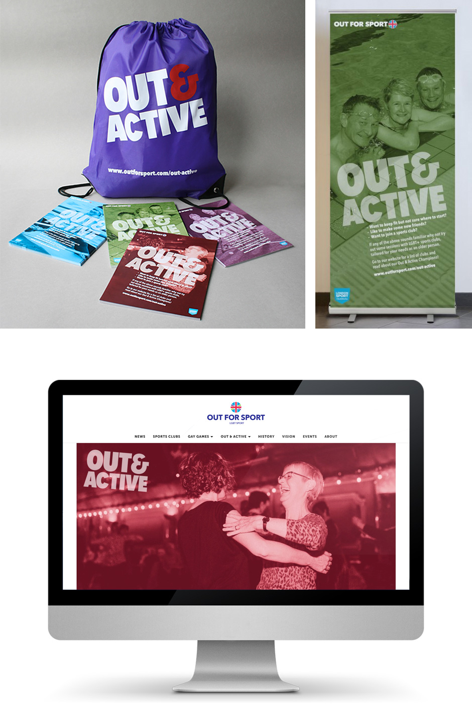 Sports bag, A4 flyers, roller banner and website landing page for the Out & Active campaign