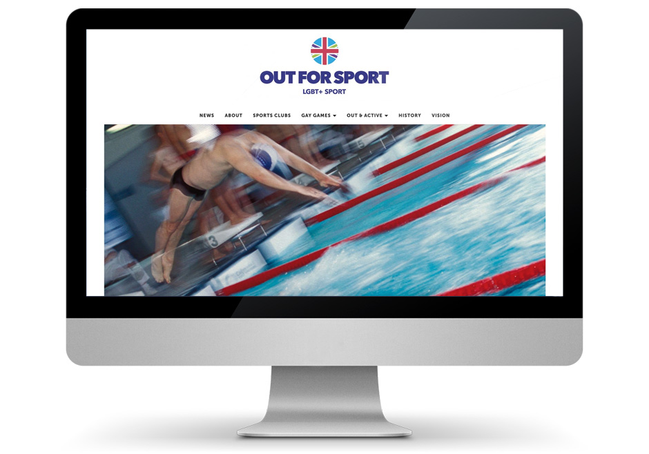 Mac display showing redesigned Out For Sport website