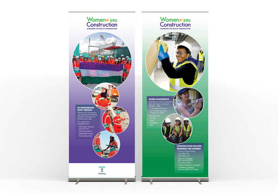 Women Into Construction - roller banners illustrating Tideway partnership