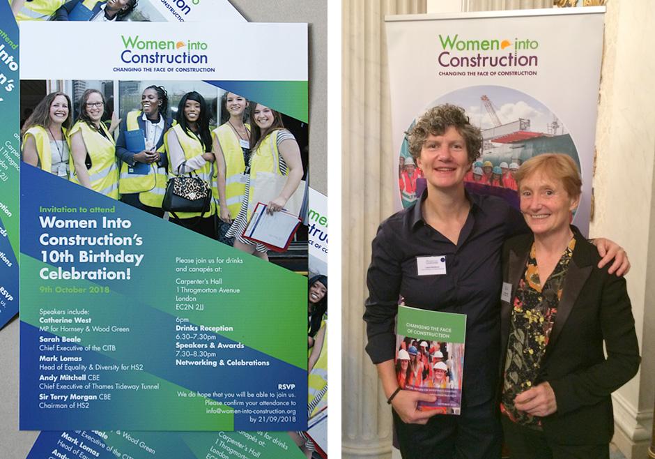 Women Into Construction - 10th Birthday invite