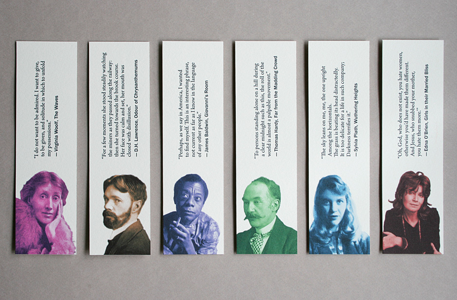 Bookmarks featuring the work of the authors and poets Virginia Woolf, D.H. Lawrence, James Baldwin, Thomas Hardy, Sylvia Plath and Edna O'Brien