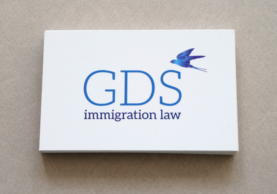 New logo and business card for GDS Immigration Law