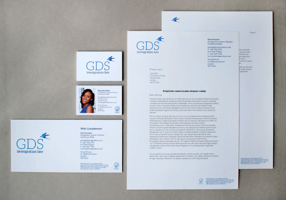 Stationery material for GDS Immigration Law