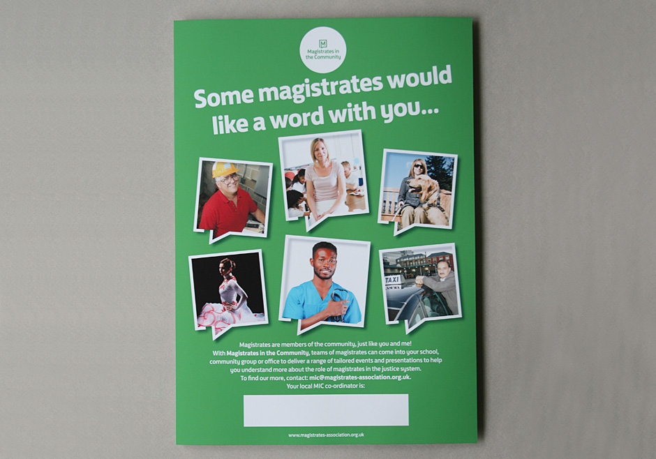 A3 poster promoting the services of the Magistrates Association