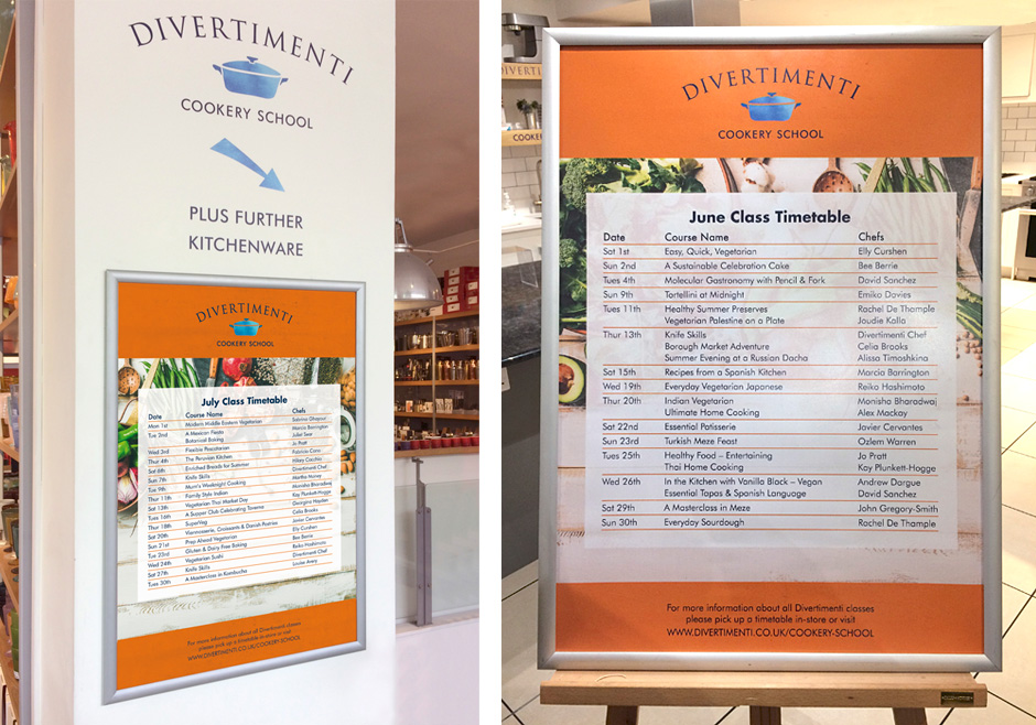 Divertimenti summer cookery school posters 2019
