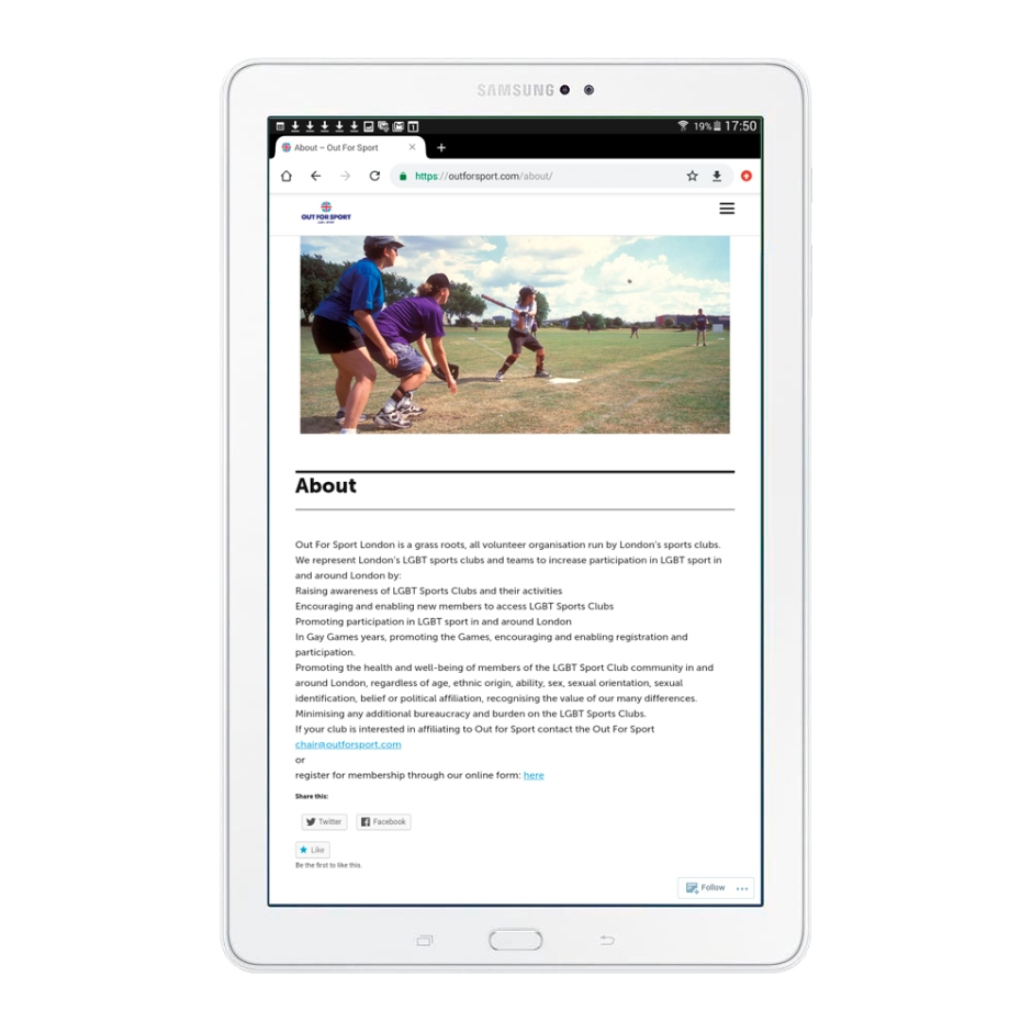 Out For Sport website viewed on Samsung tablet