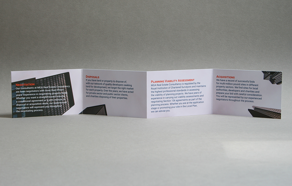 MGA Real Estate Consultancy folded business card