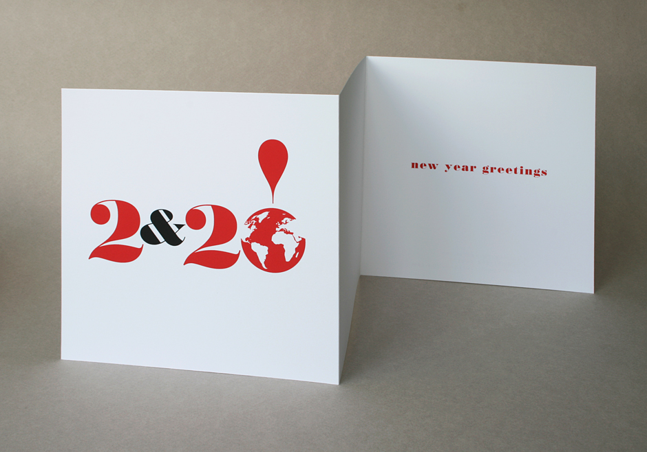 Hand-made folded New Year greetings card for 2020