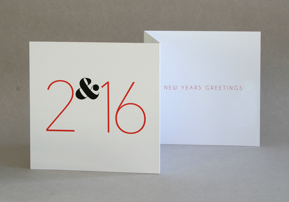Handmade double folded New Year Year greetings card for 2016