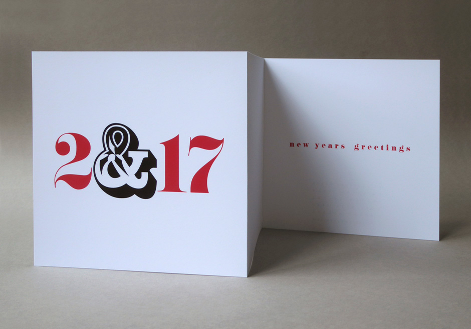 Handmade double folded New Year Year greetings card for 2017