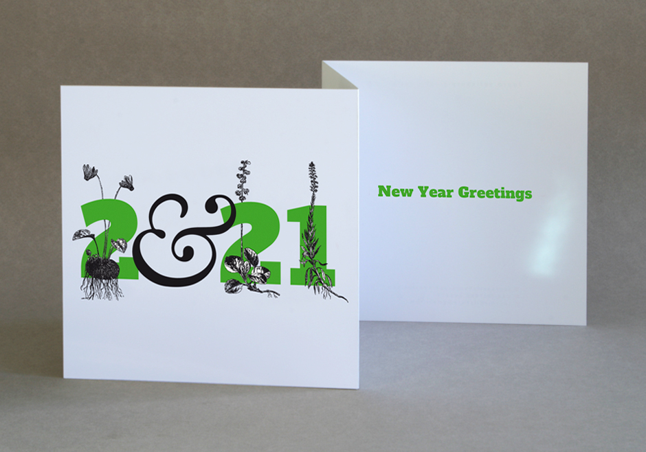 Double folded New Year Greetings card 2021
