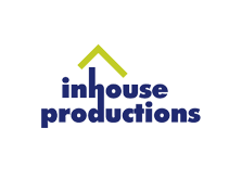 Blue text with floating abstract green roof for Inhouse Productions logo