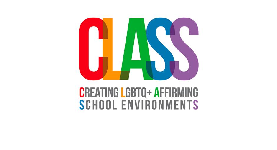 Multicoloured CLASS (Creating LGBTQ+ Affirming School Environments) stack logo