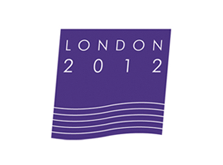 Proposed London 2012 Olympics logo on slanting blue square with white river lines at the base