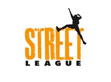 Athletic figure jumps across this Street League logo