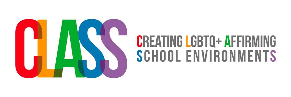 Multicoloured CLASS (Creating LGBTQ+ Affirming School Environments) horizontal logo
