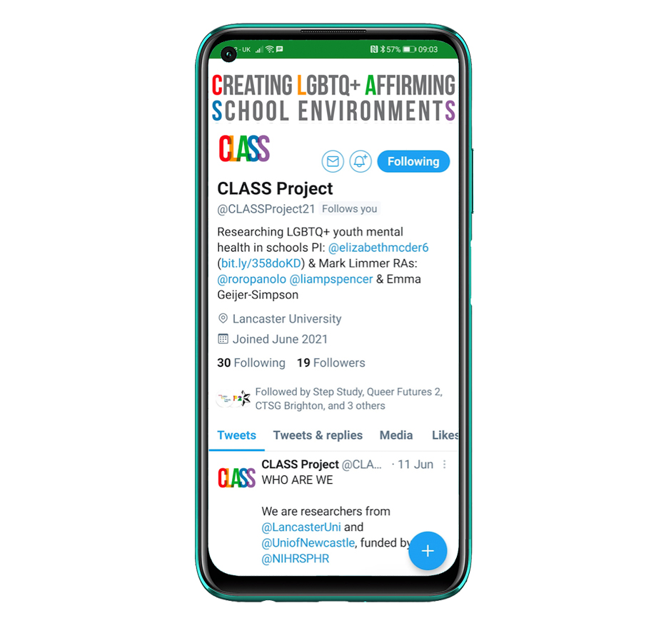 Mobile phone display showing the CLASS project page on Twitter